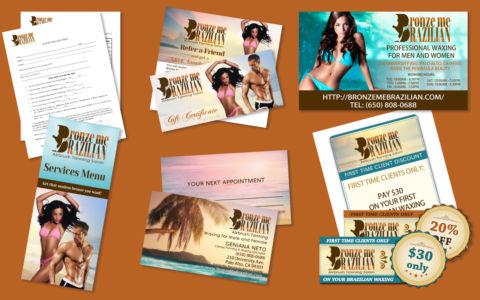 Print and Web Design for Bronze Me Brazilian
